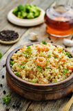 Quinoa with shrimp and parsley Royalty Free Stock Photography