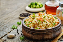Quinoa with shrimp and parsley Royalty Free Stock Photo