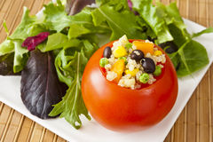 Quinoa Stuffed Tomato with Salad Royalty Free Stock Photo
