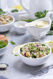Quinoa tabbouleh. Tabouleh style salad made of sprouted quinoa Royalty Free Stock Photos