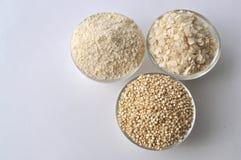 Quinoa in three forms - flour, flakes and grain. Alternative gluten-free grain Stock Photo