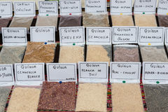 Quinoa types Lima Peru. Quinoa types in peruvian market Lima Peru stock image