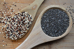 Quinoa und Chia Stockfotos