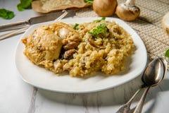 Quinoa van de kippenpaddestoel royalty-vrije stock afbeelding