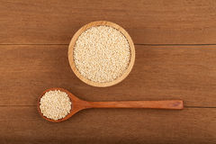 Quinoa in wooden bowl Royalty Free Stock Photography