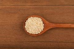 Quinoa in wooden bowl Stock Image