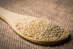 Quinoa on wooden spoon and linen background. Royalty Free Stock Images