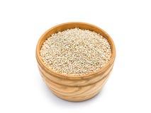 Quinoa ziarna w drewnianym pucharze Obraz Royalty Free