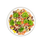 Quinoasalat in der Glasschüssel Stockfotos