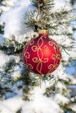 Quinquilharia do Natal em um pinheiro Imagens de Stock
