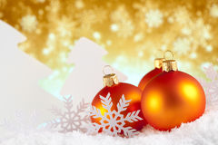 Quinquilharias, árvores e flocos de neve do Natal Fotografia de Stock