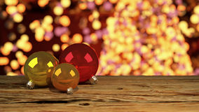 Quinquilharias do Feliz Natal e fundo brilhante do bokeh ilustração stock