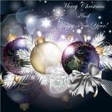 Quinquilharias do vetor do Natal e de árvore do Xmas ramos para o projeto Fotografia de Stock Royalty Free
