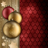 Quinquilharias, estrelas e espaço do Natal para o texto Fotografia de Stock