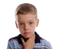 Quinsy. The boy keeps for a sick throat royalty free stock photos
