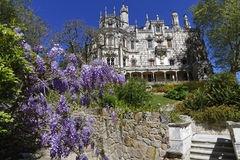 Quinta da Regaleira palace and flowers Royalty Free Stock Photos