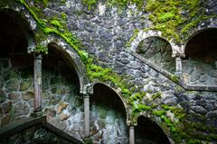 Quinta da Regaleira scenic castle misterious pattern. Quinta da Regaleira scenic castle, misterious floors underground Royalty Free Stock Images