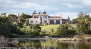 View of a luxury villa around the lake of Quinta do Lago, Portugal