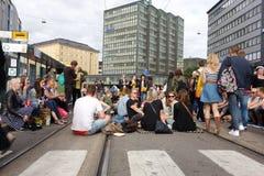 Quinta fiesta de barrio de Kallio en Helsinki, Finlandia Imagenes de archivo