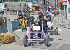 Quinta raza de Gocarts en Halle, Bélgica Fotos de archivo