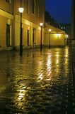 Quintal com as lâmpadas de rua na noite fotografia de stock royalty free
