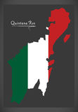 Quintana Roo map with Mexican national flag illustration Stock Photos