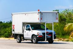 Nissan Frontier. Quintana Roo, Mexico - May 16, 2017: White pickup truck Nissan Frontier at the interurban road Royalty Free Stock Images