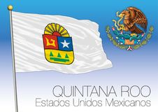 Quintana Roo regional flag, United Mexican States, Mexico. Vector illustration Stock Image