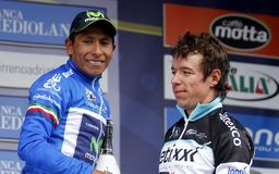 Quintana and Uran Poduim Tirréno Adtiatico 2015 Stock Photo