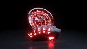 Quinte royale de cartes de roue et de tisonnier de roulette de casino aux coeurs jouant en ligne le concept - illustration 3D illustration libre de droits