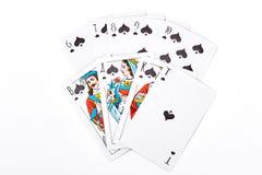 Quinte royale de pelle jouant des cartes Image libre de droits
