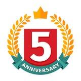 Quinto ícone feliz do vetor do crachá do aniversário Fotos de Stock Royalty Free