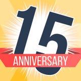 Quinze anos de bandeira do aniversário 15o logotipo do aniversário Ilustração do vetor Fotografia de Stock