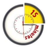 Quinze minutes sur l'horloge illustration libre de droits