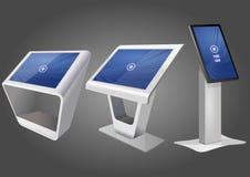 Quiosco de información interactivo promocional tres, haciendo publicidad de la exhibición, soporte terminal, pantalla táctil Mofa ilustración del vector
