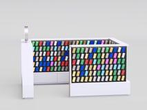 Quiosco de los accesorios de Smartphone que vende cajas del teléfono y otros artículos del smartphone dentro de una alameda 3d ri stock de ilustración