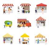 Quiosque exterior ajustado da tenda da compra do pavilhão da barraca do dossel do festival do alimento da rua com os povos que an ilustração do vetor