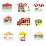 Quiosque exterior ajustado da tenda da compra do pavilhão da barraca do dossel do festival do alimento da rua Molde, inseto, bane ilustração do vetor