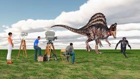 Équipage de film, Spinosaurus et Habilis homo Photographie stock libre de droits
