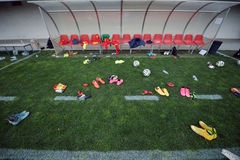 Équipement après un match de football du football Image stock
