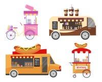 Équipement de transport par rue et aliments de préparation rapide Photographie stock libre de droits