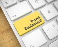 Équipement de voyage - inscription sur le bouton jaune de clavier 3d Image stock