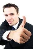 Équipez la verticale, homme d'affaires affichant à signe l'allright en bon état Images libres de droits