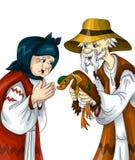 Équipez la vieille illustration de style de bande dessinée de clipart d'oie de femme Images libres de droits