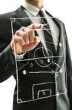 Équipez le pointage au terrain de football sur un écran virtuel Image stock