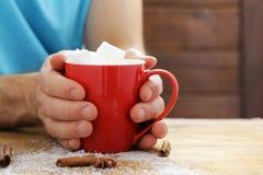 Équipez tenir un cacao chaud de tasse avec des guimauves, boisson de Noël Image stock