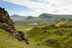 The Quirain, Isle of Skye. View on the beautiful rock formations of the Quiraing, Isle of Skye, Scotland Stock Photography