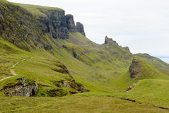 The Quirain, Isle of Skye. View on the beautiful rock formations of the Quiraing, Isle of Skye, Scotland Royalty Free Stock Images
