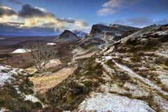 Quiraing ö av Skye, Skottland Arkivfoton