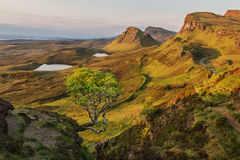 Quiraing. Dawn in unspoilt countryside highlands Royalty Free Stock Images